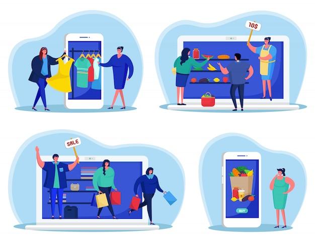 Negocio en línea en el dispositivo, pago, venta en la ilustración de internet. tecnología electrónica web, carácter en el servicio de comercio de tienda. la gente usa el concepto de teléfono móvil y computadora portátil.