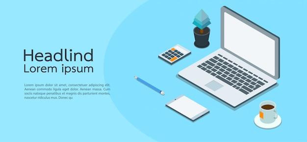 Negocio moderno del concepto isométrico del diseño. computadora, laptop, teléfono inteligente