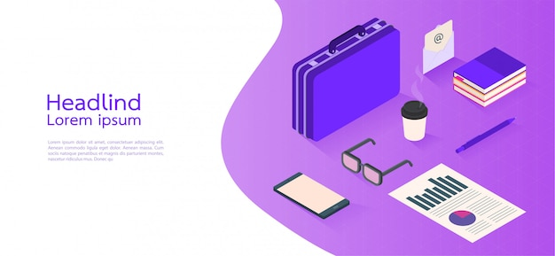 Negocio moderno del concepto isométrico del diseño. elementos infográficos. ilustracion vectorial