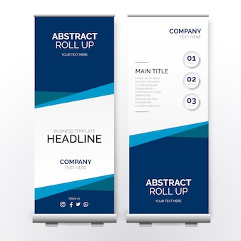 Negocio moderno roll up banner con formas de papel