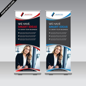 Negocio moderno roll up banner premium vector