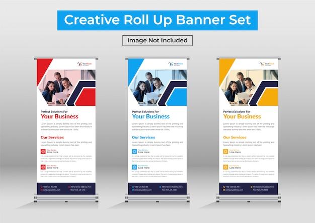 Negocio moderno roll up banner set