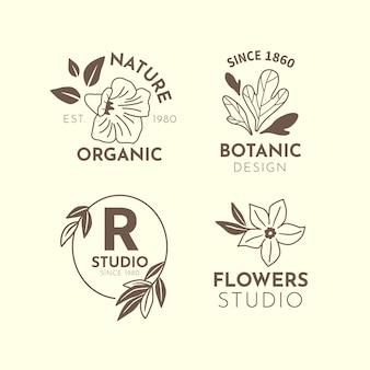 Negocio natural en colección de logotipos de estilo minimalista