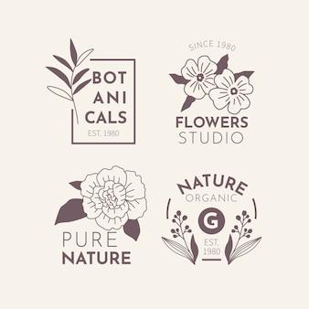 Negocio natural en conjunto de logotipos de estilo minimalista