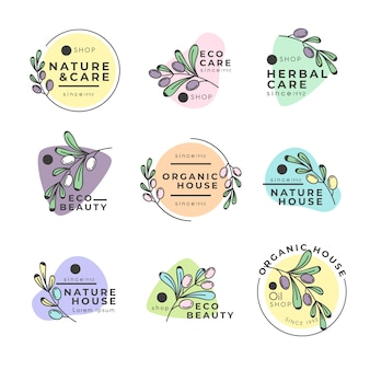 Negocio natural en paquete de logotipo de estilo minimalista