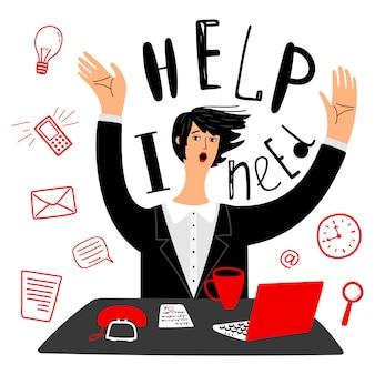 El negocio necesita ayuda. empresaria o secretaria y gestión del tiempo