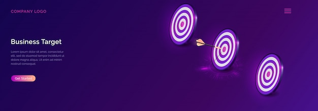 Negocio objetivo isométrico, tablero de dardos con flecha