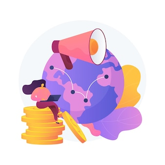 Negocio online intercontinental, empresa internacional, promoción en internet. personaje de dibujos animados de empresaria. sucursales de firmas africanas y americanas. ilustración de metáfora de concepto aislado de vector.