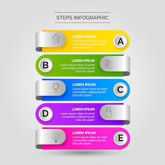 Negocio de pasos de infografía