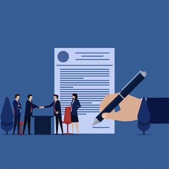Negocio plano vector concepto equipo apretón de manos para la metáfora del acuerdo de acuerdo.