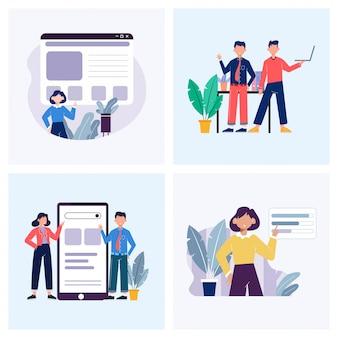 El negocio presenta la ilustración del concepto en un conjunto moderno
