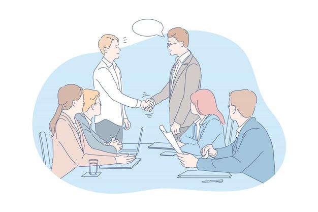 Negocio, reunión, negociación, equipo, concepto de acuerdo