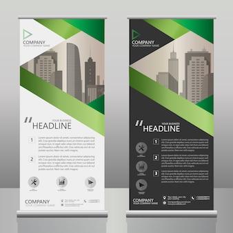 Negocio roll up banner plantilla de diseño con rayas verdes