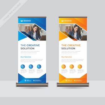 Negocio roll up standee banner template premium