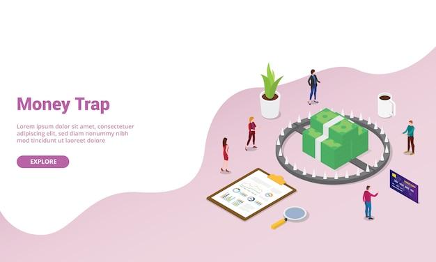 Negocio de trampa de dinero con equipo de personas de negocios estilo isométrico moderno para plantilla de sitio web o página de inicio