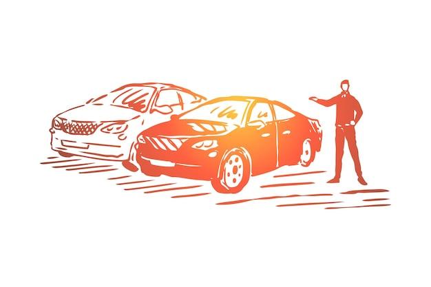 Negocio de venta de automóviles, ilustración de sala de exposición de vehículos de lujo.