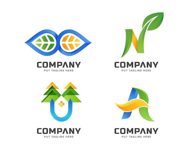 Negocio verde naturaleza, conjunto de plantillas de logotipo spa