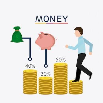 Negocios, dinero y recursos humanos.