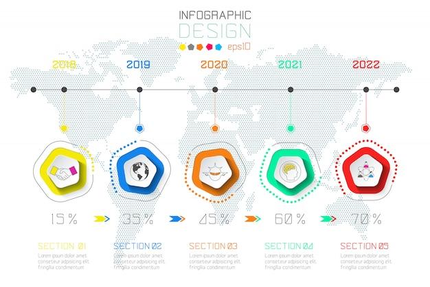 Negocios etiquetas infografía sobre fondo de mapa del mundo.