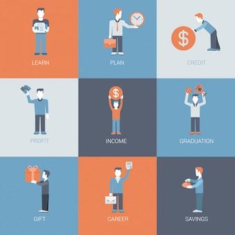 Negocios, finanzas, carrera, ingresos, lucro figuras de personas con conjunto de iconos de situaciones de objeto.