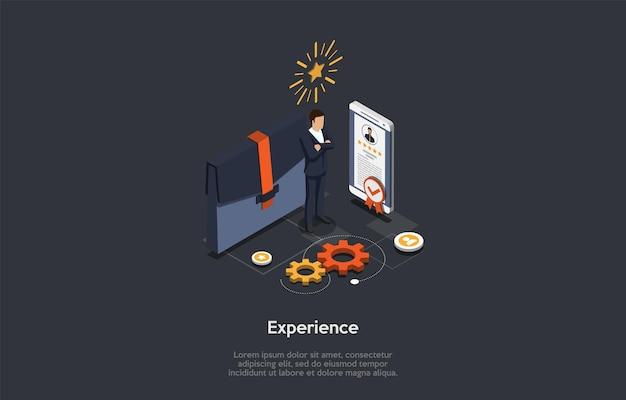 Negocios, finanzas e inversiones en concepto de experiencia de idea. un empleador, el teléfono inteligente con perfil calificado de cinco estrellas y maletín grande