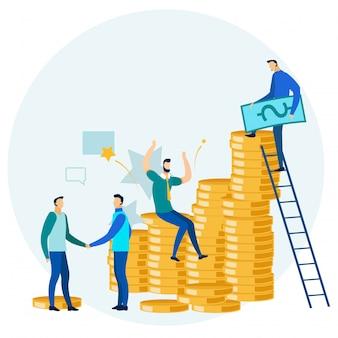 Negocios gente ganando dinero metáfora de dibujos animados