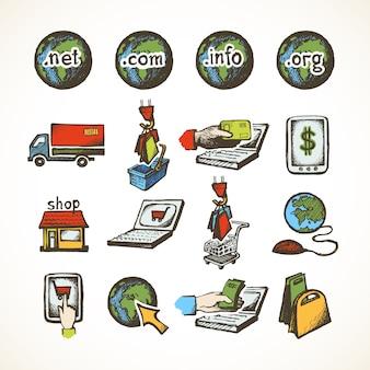 Negocios de internet en línea de compras iconos conjunto de comercio electrónico de venta de dominios compra de carro y globales entrega ilustración vectorial de boceto