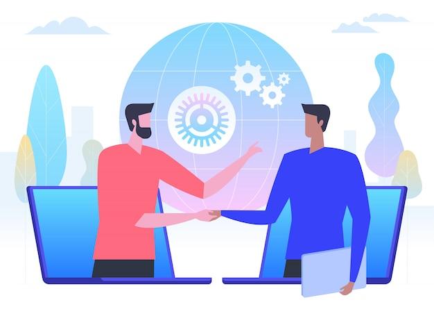 Negocios en línea, hombres de negocios dándose la mano a través de pantallas de portátiles,