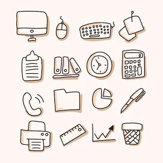 Negocios, oficina conjunto de icono. dibujar a mano