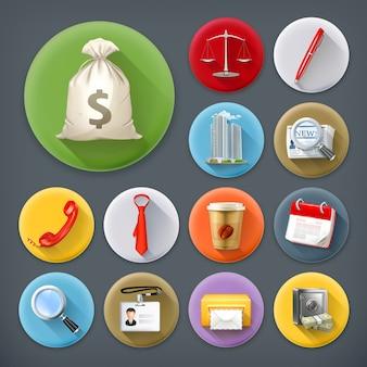 Negocios y oficina, conjunto de iconos de larga sombra