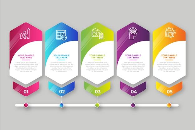 Negocios pasos infografía gradiente