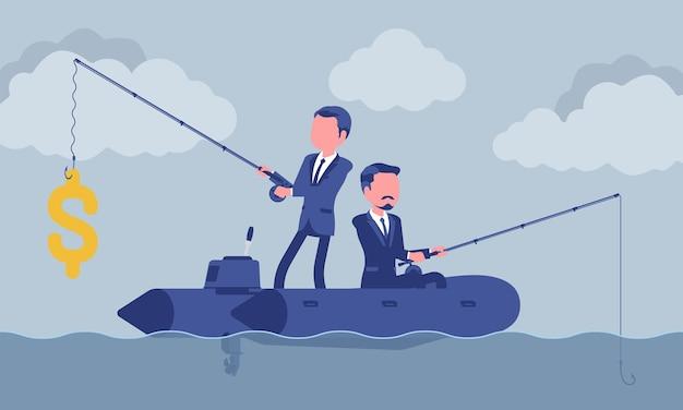 Negocios pescando por dinero
