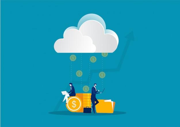 Negocios que buscan información en el servicio de internet o en la nube para capturar dinero en línea concepto.