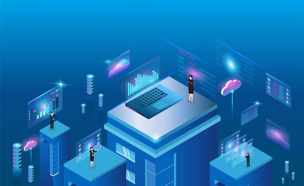 Negocios por tecnología de computación en la nube para análisis de negocios