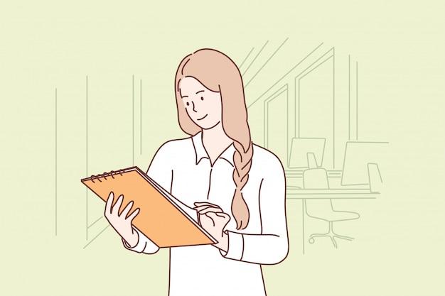 Negocios, trabajo, examen, informe, concepto de oficina