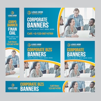 Negocios web banner set vector plantillas