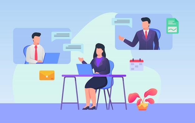 Negocios web reunión video conferencia mujer y hombre discusión tecnología de internet con moderno estilo plano de dibujos animados.