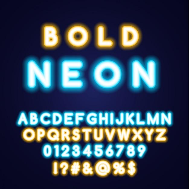 Negrita fuente de alfabeto de tubo de neón