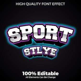 Negrita con fuente editable de estilo deportivo con efecto de brillo de neón