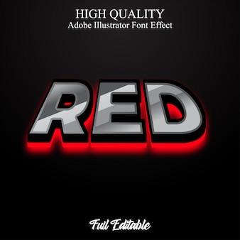 Negrita moderna 3d con efecto de fuente editable de estilo de texto de luz roja