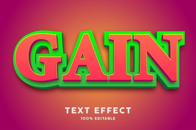 Negrita roja 3d con efecto de texto de capa verde