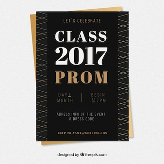 Negro y dorado cartel de fiesta de graduación
