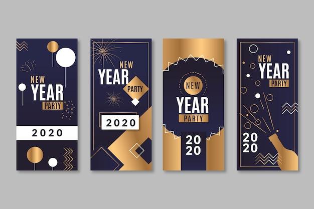 Negro y dorado con historias de confeti instagram para año nuevo