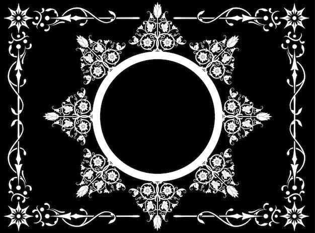 Negro y con flor abstracta con marco