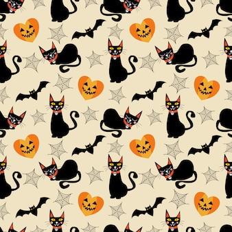 Negro gato y símbolos de halloween de patrones sin fisuras.