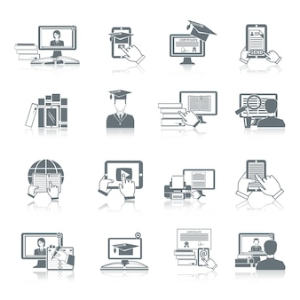 El negro en línea del icono de la educación fijó con la investigación a distancia tutoriales digitales y los símbolos de prueba aislados ilustración vectorial