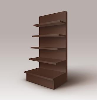 Negro, marrón, vacío, exposición, comercio, stand, tienda, estante, con, estantes, escaparate, aislado, fondo