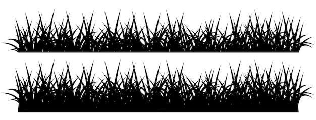 Negro silueta de hierba, aislado sobre fondo blanco.