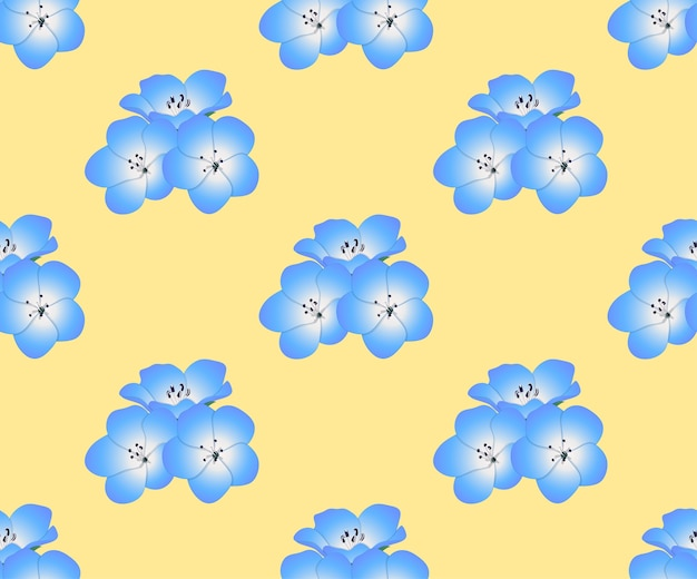 Nemophila baby blue eyes flower en fondo amarillo
