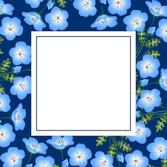 Nemophila baby blue eyes flower en la tarjeta de la bandera de indigo